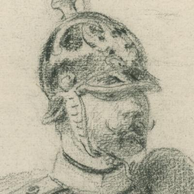 Dessin crayon rehaussé - Infanterie - Prusse - Soldat - Guerre 1870 - Campagne Franco Prussian War