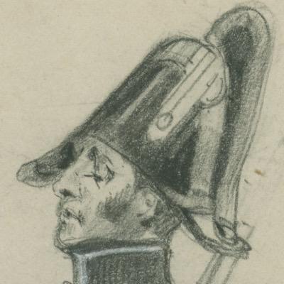 Dessin crayon - Gendarmerie - Restauration - Uniforme - 1828