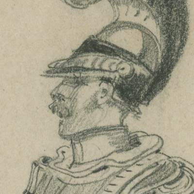 Dessin crayon rehaussé - Cuirassier - 1823 - Uniforme - Restauration