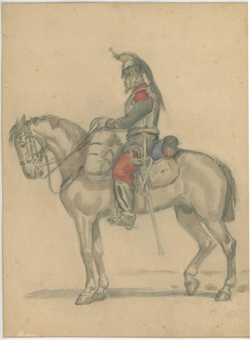 Dessin crayon rehaussé couleurs - Cuirassier de la ligne - 1860 - Uniforme - Second Empire - Napoléon III - 1870