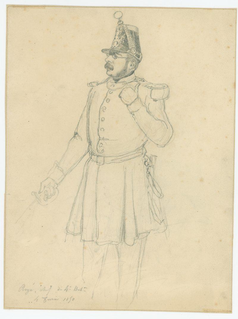 Dessin crayon rehaussé - Infanterie de ligne - 1850 - Uniforme - Second Empire - Napoléon III - 1870