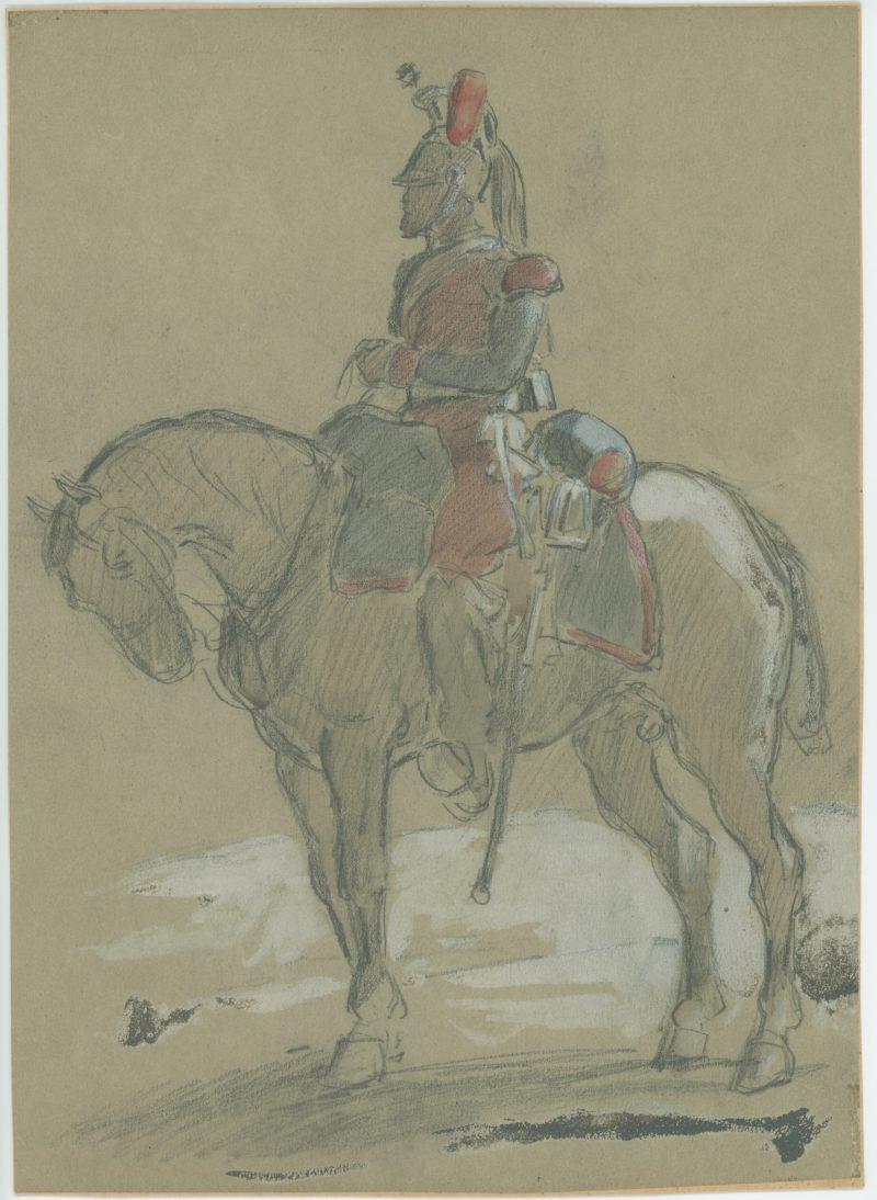 Dessin crayon rehaussé couleurs - Dragons de la Ligne - 1860 - Uniforme - Second Empire - Napoléon III - 1870