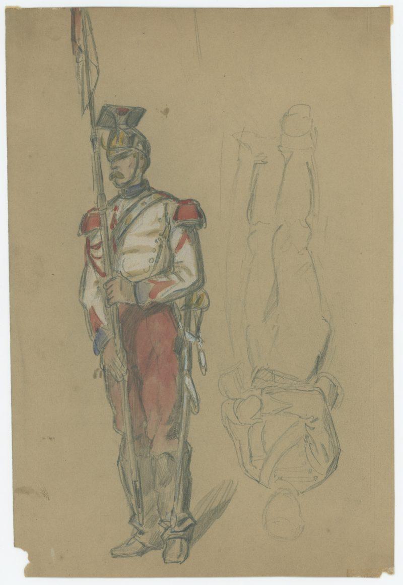 Dessin crayon rehaussé couleurs - Lancier de la Garde - 1860 - Uniforme - Second Empire - Napoléon III - 1870