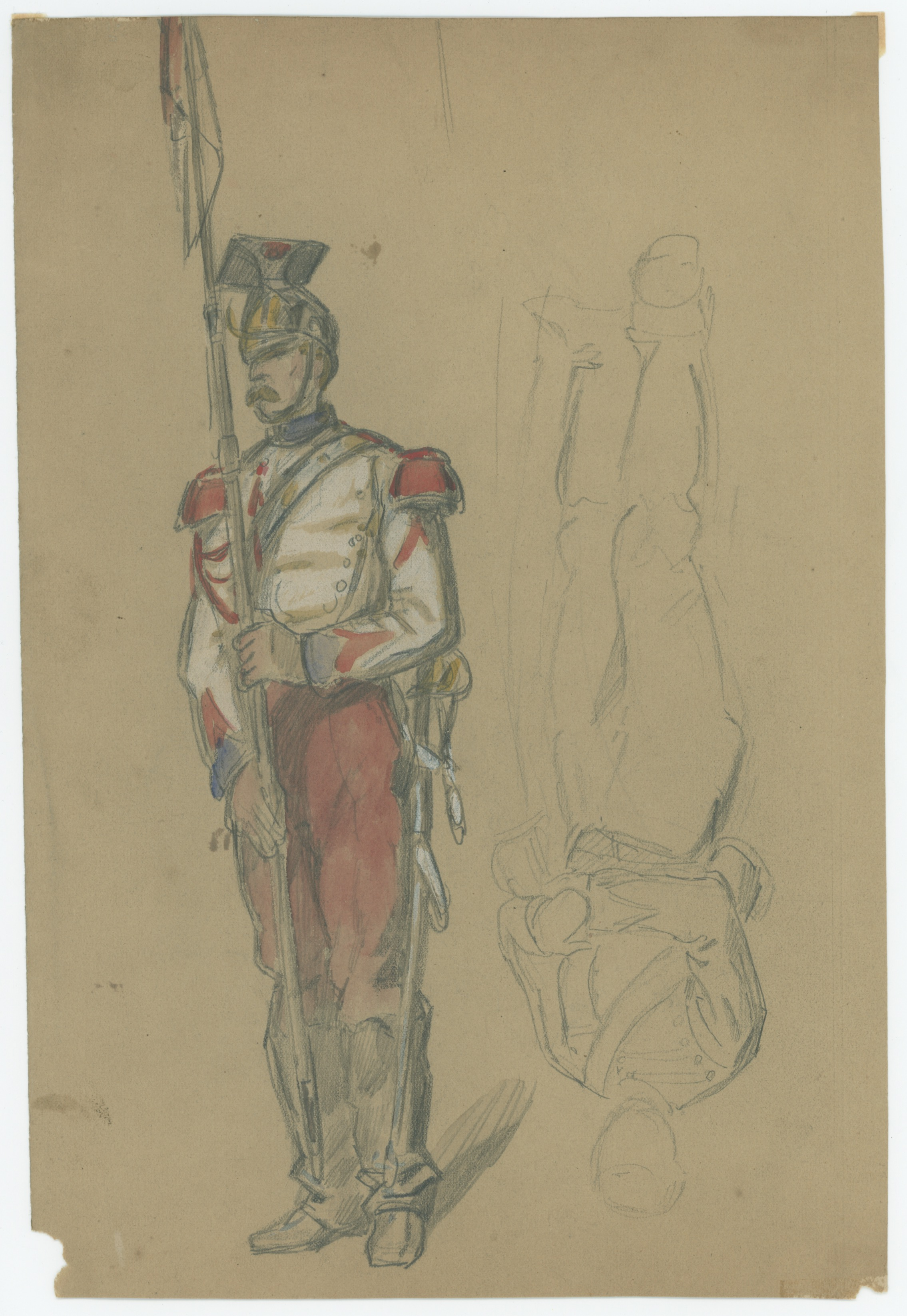 Dessin crayon rehaussé couleurs - Lancier de la Garde - 1860 - Uniforme - Second Empire - Napoléon III - 1870