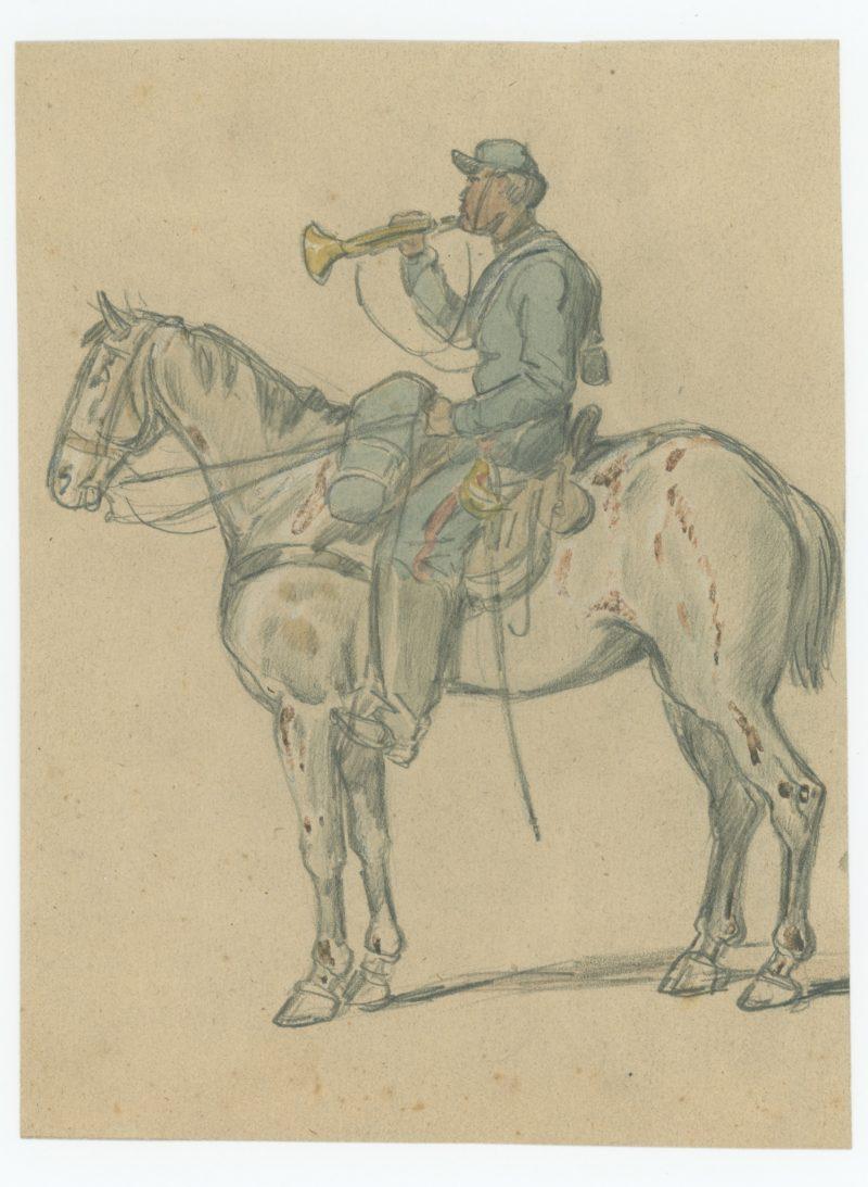Dessin crayon rehaussé couleurs - Artilleur a Cheval - 1860 - Uniforme - Second Empire - Napoléon III - 1870