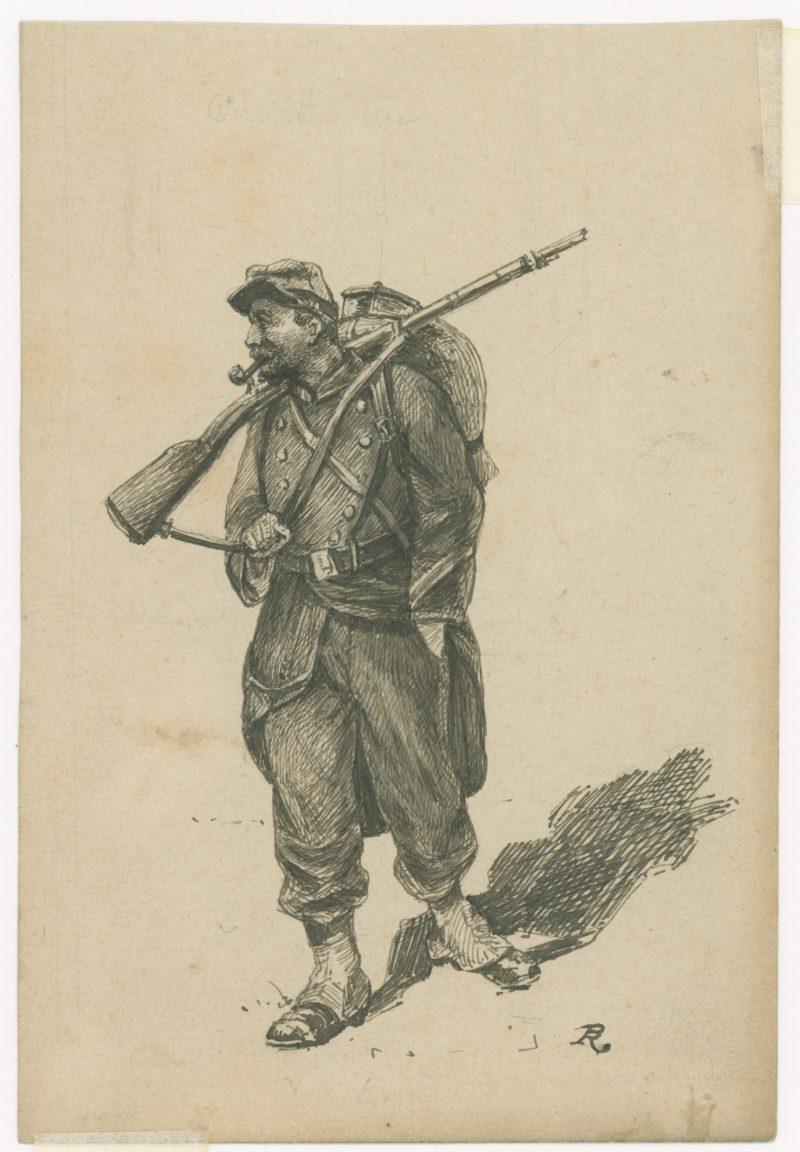 Dessin à la plume - Infanterie - 1860/1870 - Uniforme - Second Empire - Uniforme - Soldat