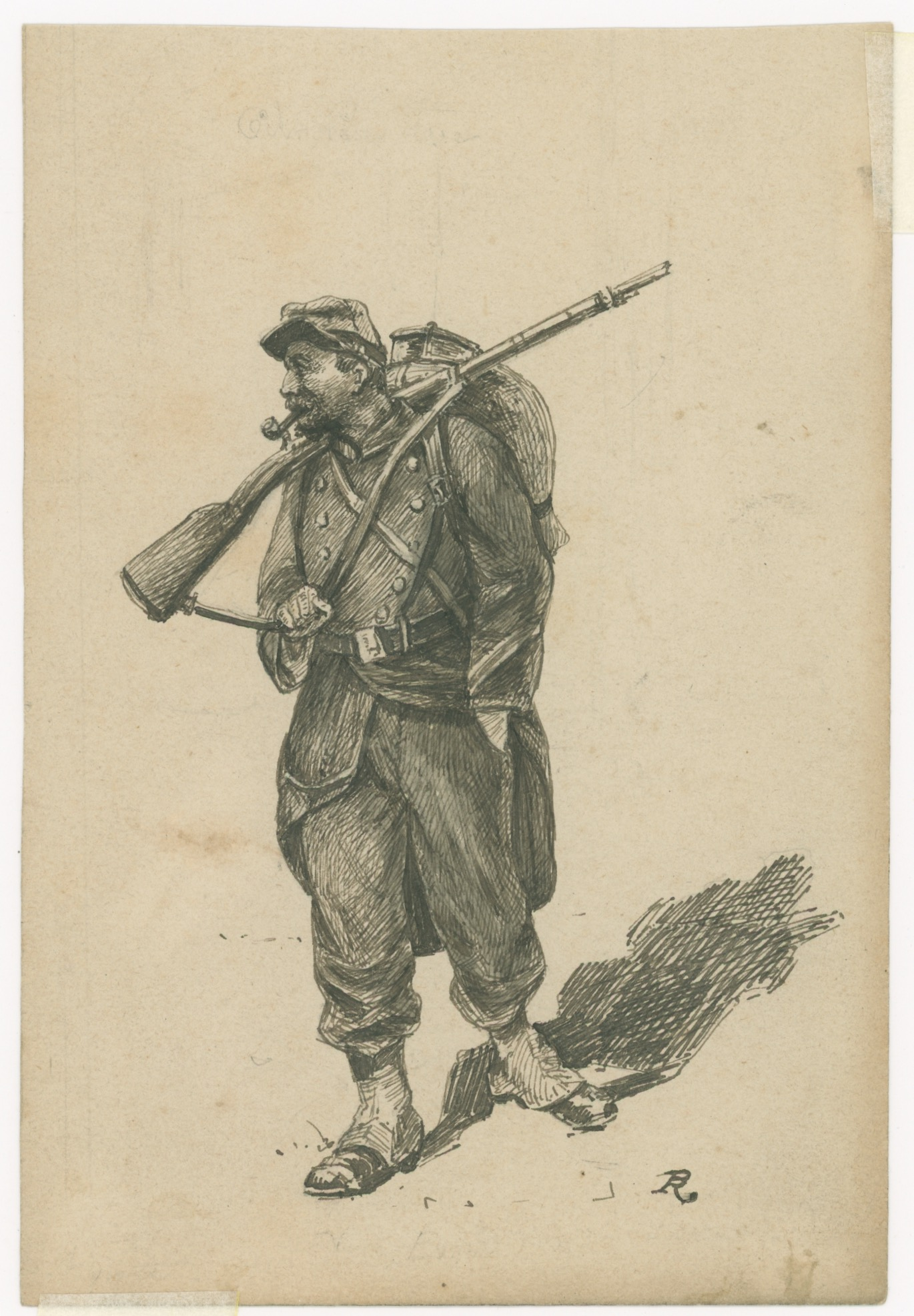 Dessin à la plume - Infanterie - 1860/1870 - Uniforme - Second Empire - Uniforme - Soldat