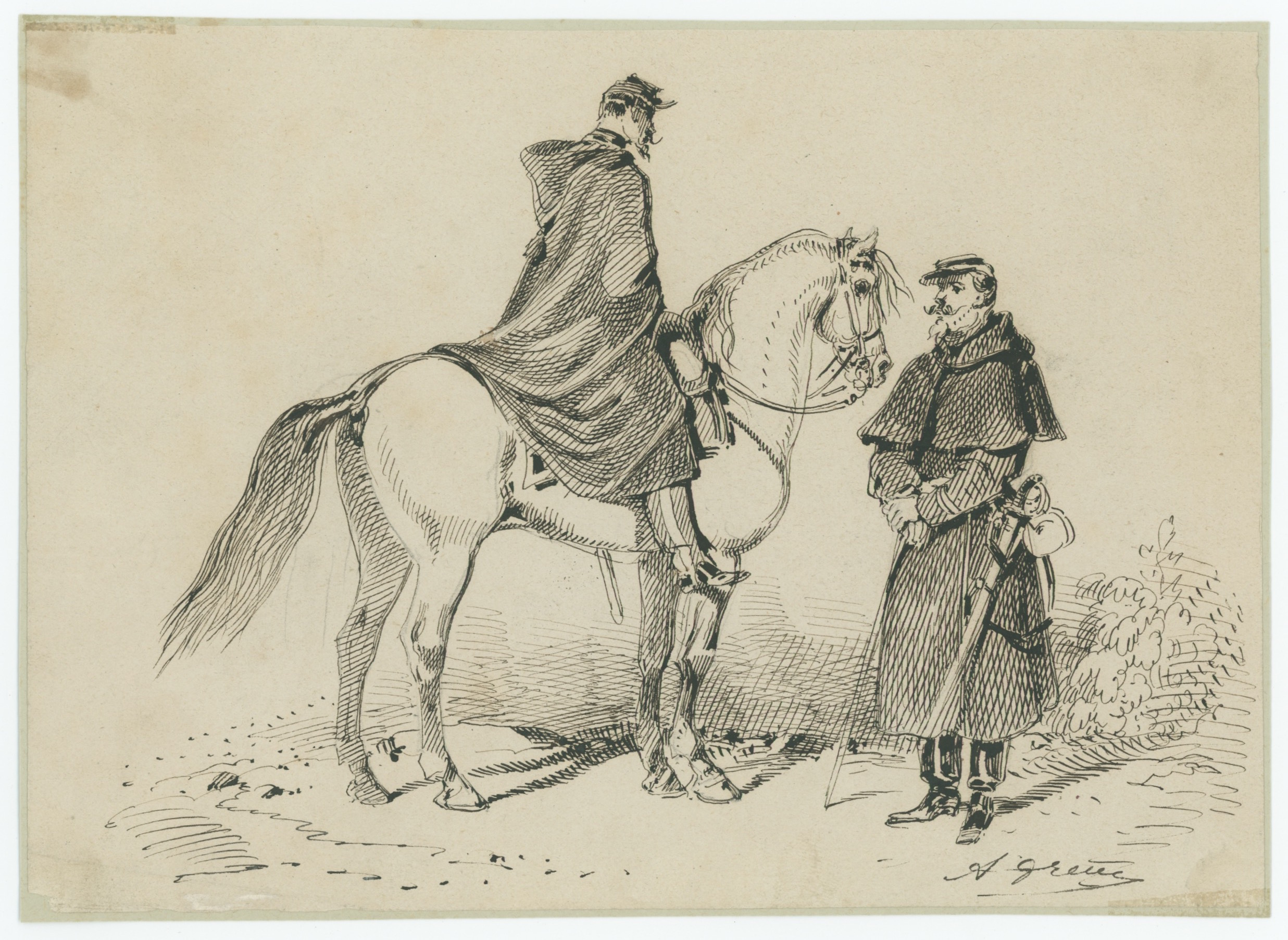 Dessin à la plume - Cheval - Officier - Infanterie - 1860/1870 - Uniforme - Second Empire - Criméen - Uniforme - Soldat