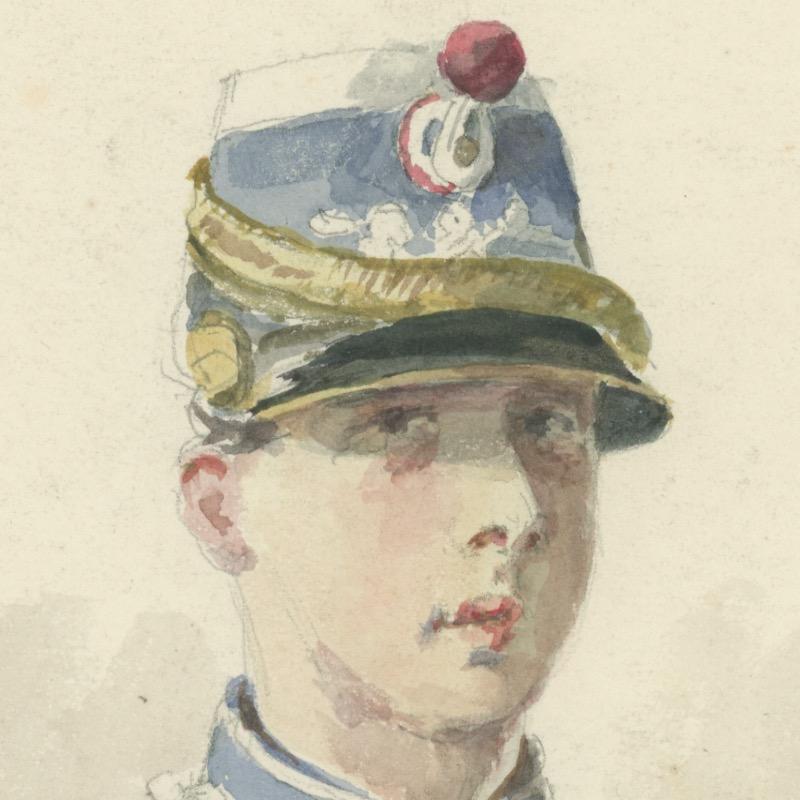 Dessin crayon rehaussé - Cavalerie - 1880 - Uniforme - 3ème République - Hussard - 3ème Régiment - Aquarelle