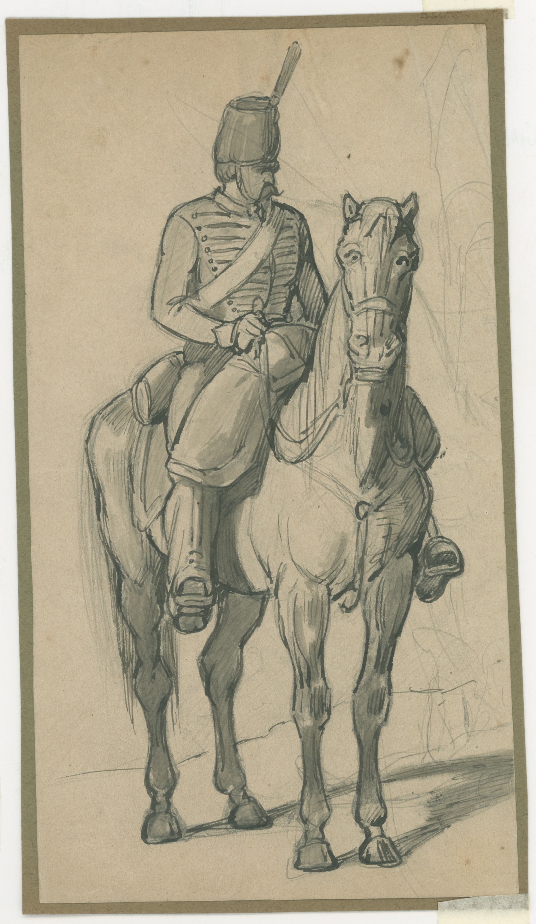 Dessin crayon rehaussé couleurs - Chasseur à Cheval - 1860 - Uniforme - Second Empire - Napoléon III - 1870