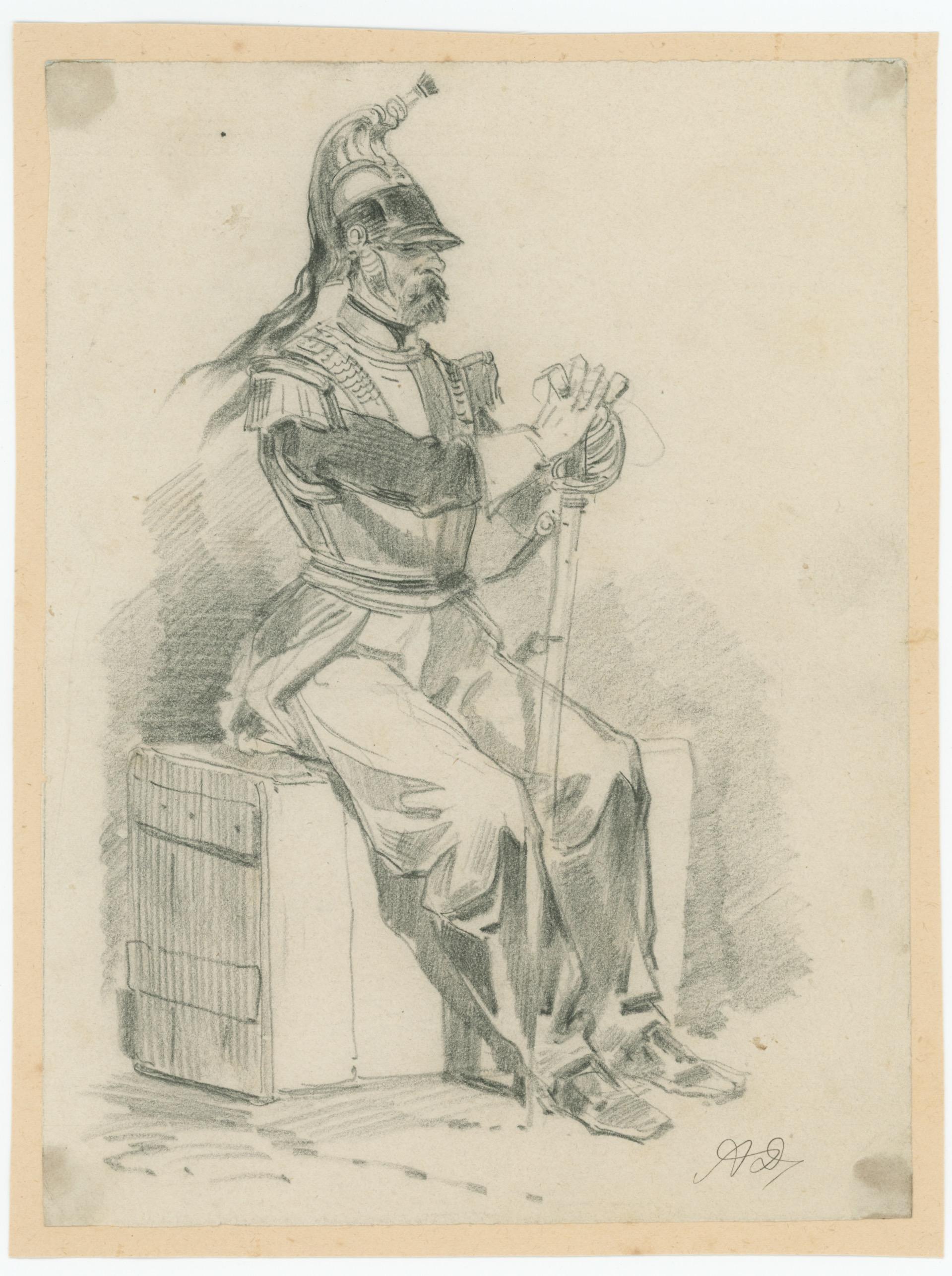 Dessin crayon rehaussé - Cavalerie - France - Cuirassier - 1843 - Monarchie de Juillet - Uniforme