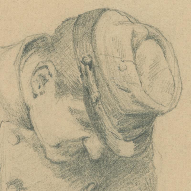 Dessin crayon - Infanterie - 1860 - Uniforme - Second Empire - Napoléon III - 1870 - Corvée de patate