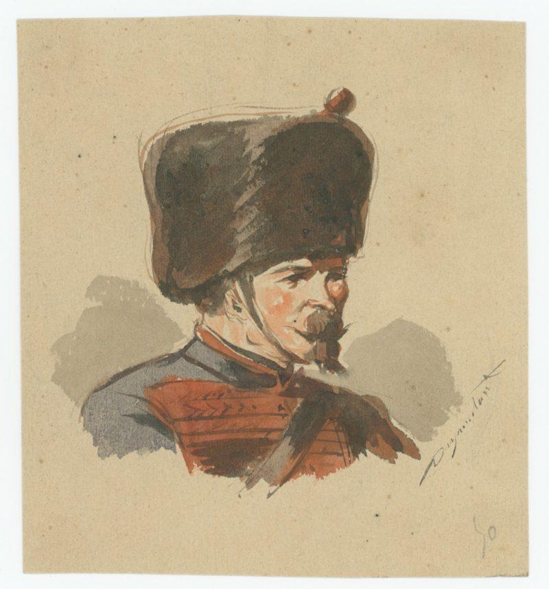 Dessin crayon rehaussé - Artillerie - Second Empire - Napoleon III - Uniforme - Aquarelle Originale 1870