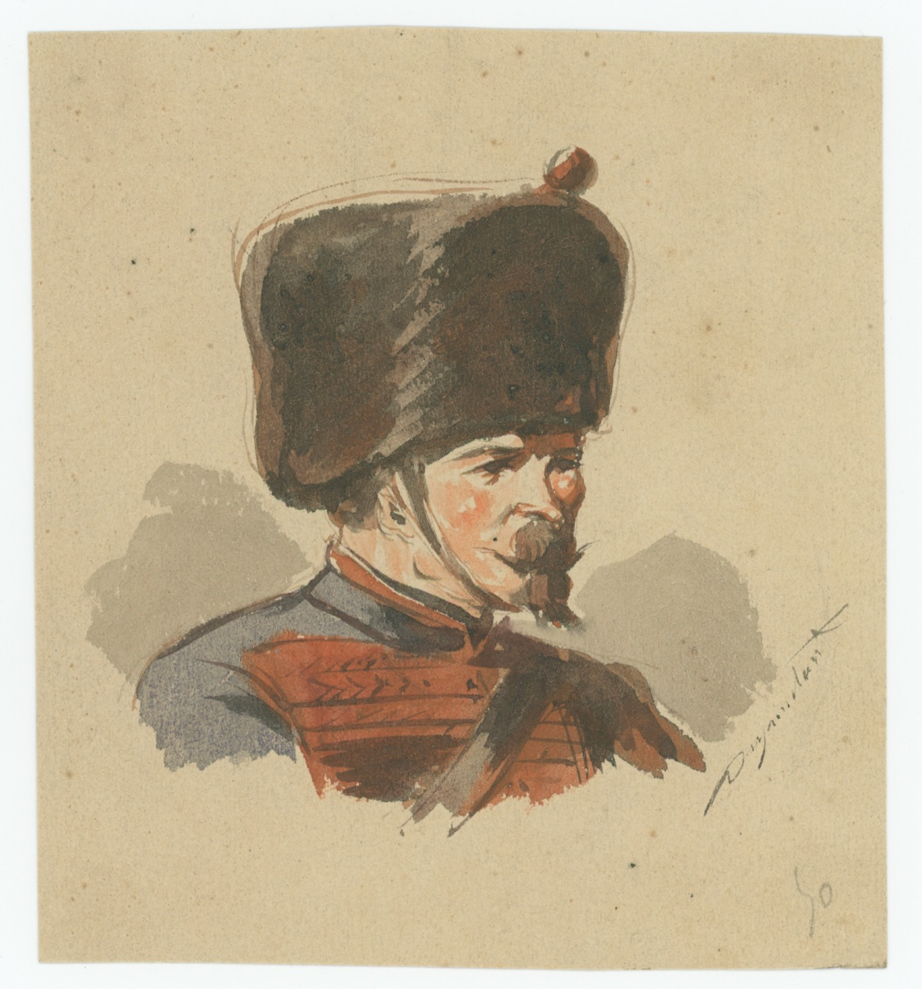 Dessin crayon rehaussé - Artillerie - Second Empire - Napoleon III - Uniforme - Aquarelle Originale 1870