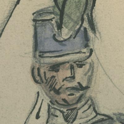 Dessin crayon rehaussé couleurs - 2e Hussard à Cheval - 1848 - Uniforme - Monarchie de Juillet
