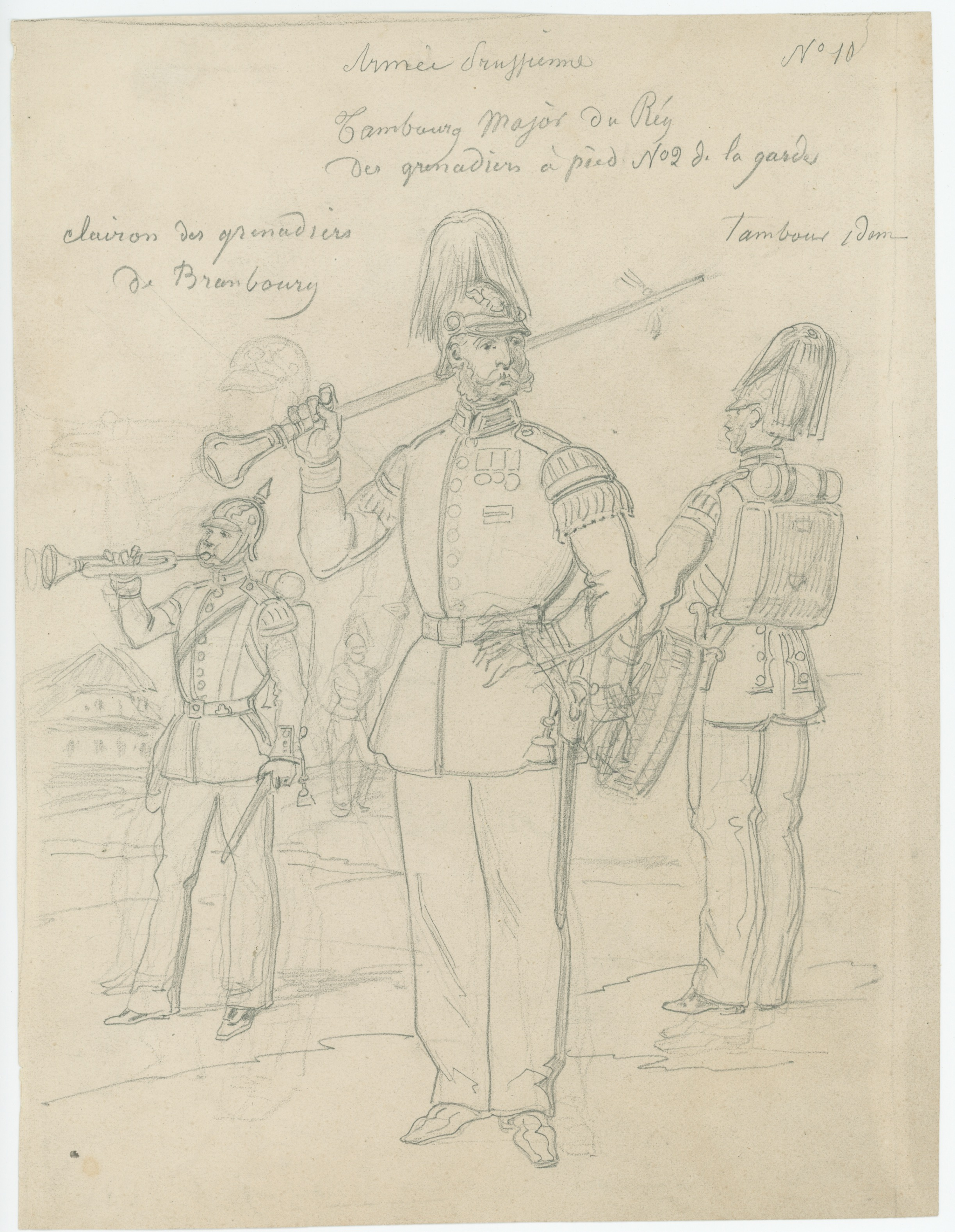 Dessin crayon recto verso - Prusse - Hussard - Grenadiers à Pied - Soldat - Guerre 1870