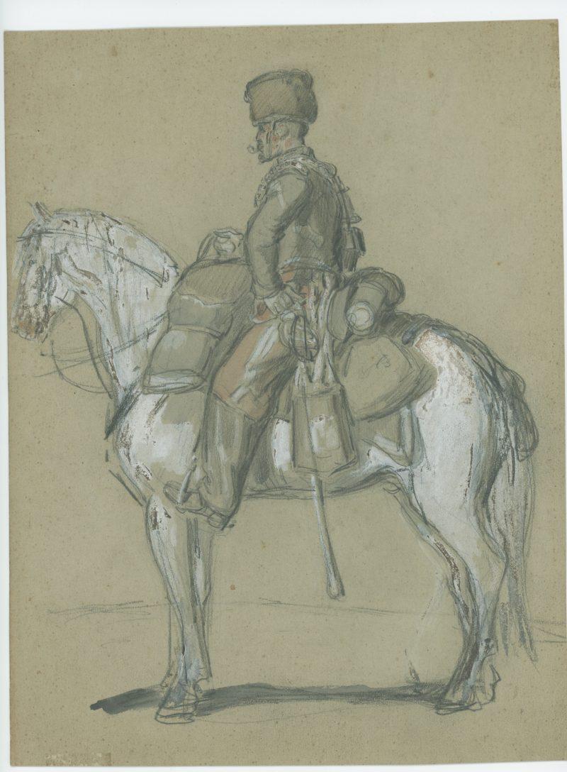 Dessin crayon rehaussé couleurs - Hussard à Cheval - 1860 - Uniforme - Second Empire
