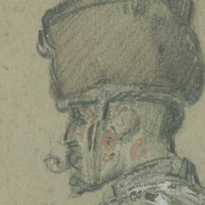 Dessin crayon rehaussé couleurs - Hussard à Cheval - 1860 - Uniforme - Second Empire