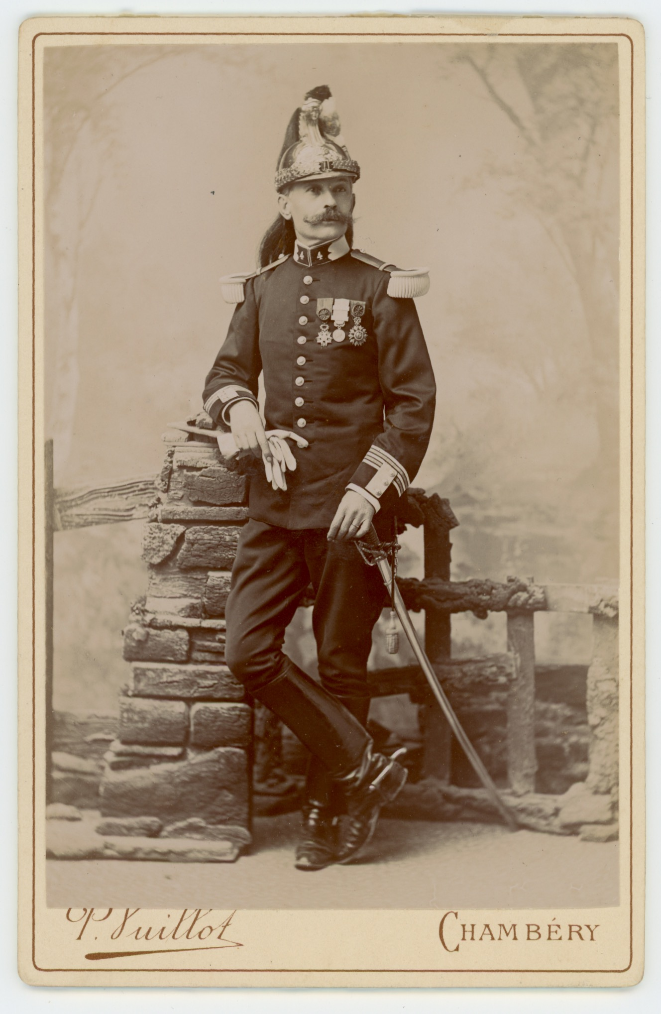 Ancienne Photographie - Grande CDV - Dragons 4 régiment - Décoration - Colonel de Chaléon - 3è République - Chambéry - Uniforme