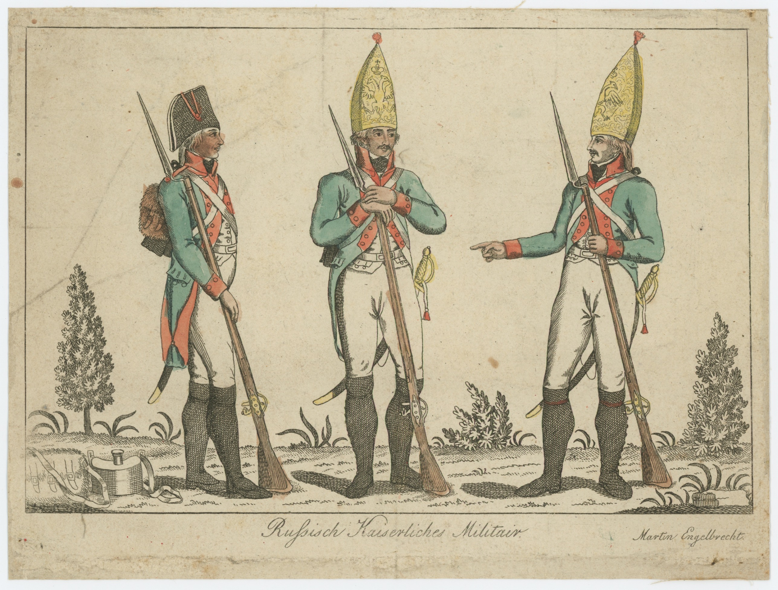 Gravure XVIII - XIX - Troupes Russes - Russich Kaiserliches Militair - Imagerie Anciennes Gravures Martin Engelbercht - Uniforme