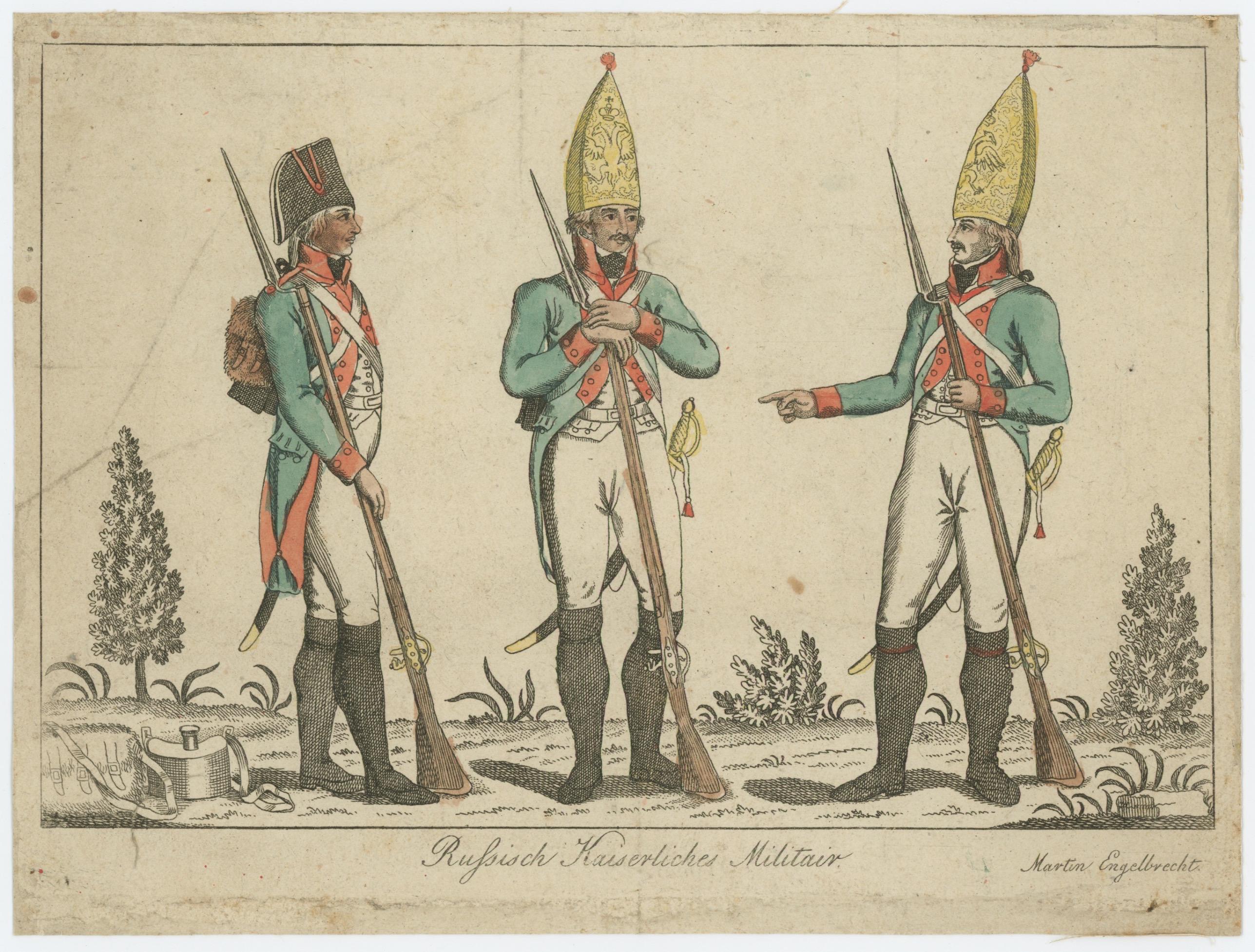 Gravure XVIII - XIX - Troupes Russes - Russich Kaiserliches Militair - Imagerie Anciennes Gravures Martin Engelbercht - Uniforme