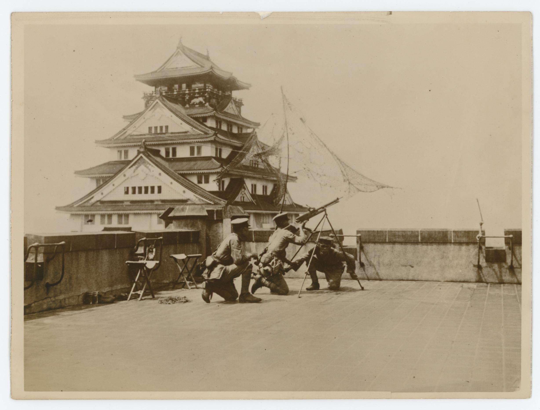 Ancienne Photographie Presse - Japon 1934 - Exercices Anti Aérien - Manœuvre de la défense - OSAKA - 16/08/34