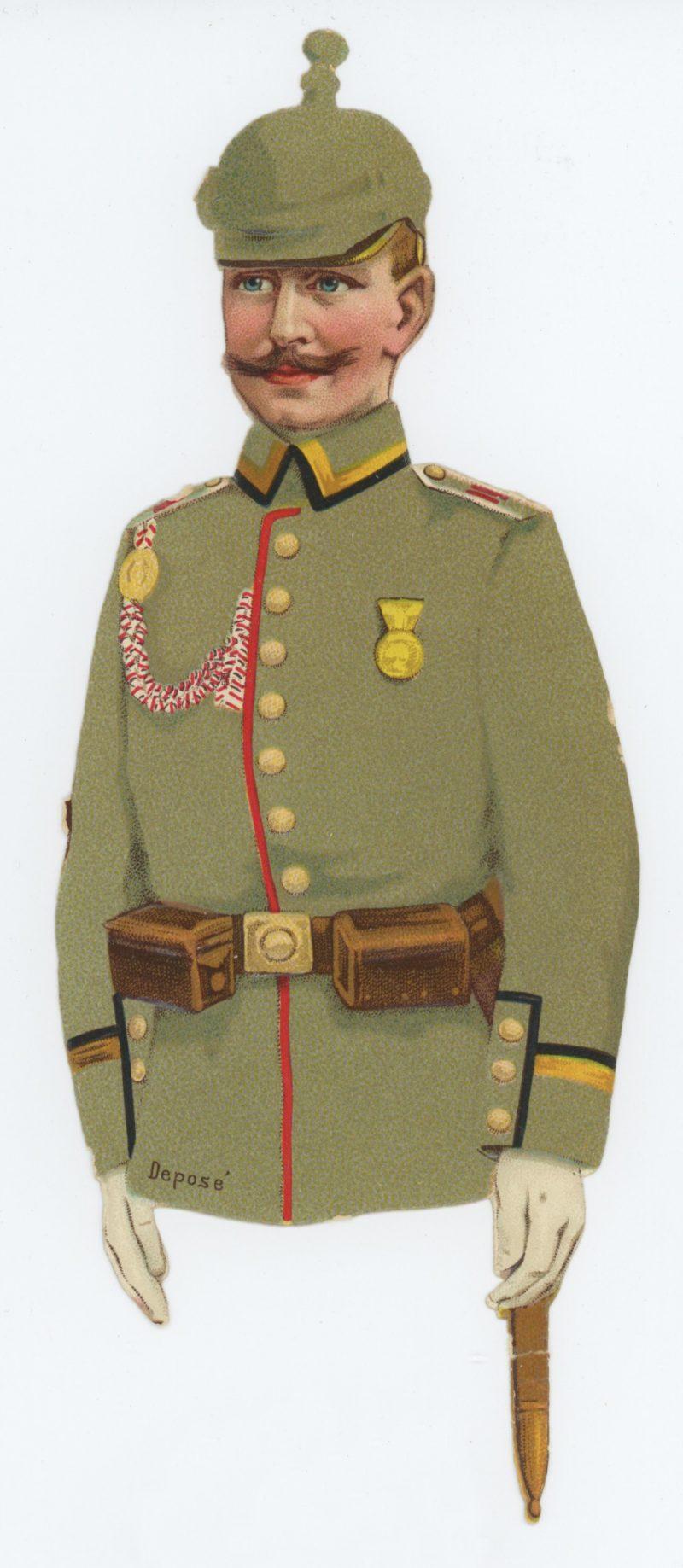 4 chromos imagerie - Armée Prussienne - Découpi - Oblaten - Uniforme - XIX - Guerre 14/18 - Imagerie - Populaire
