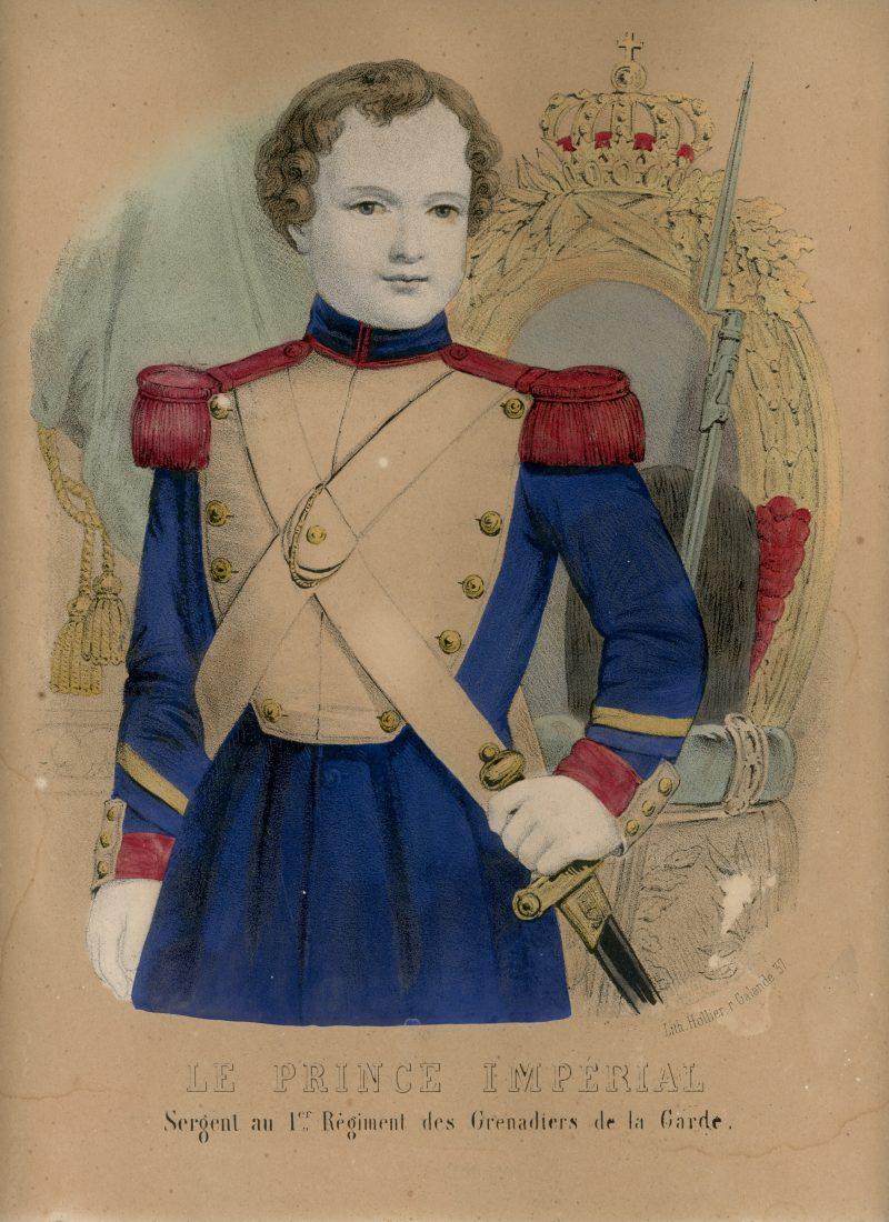 Gravure XIX - Imagerie Populaire - 2nd Empire - Prince Impérial - Grenadier de la Garde Impériale - Uniforme - Lithographie Rehaussée