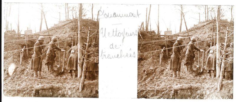 Photo Plaque Stéréo - Guerre 14/18 - Conflit - Tranchée - Vue Stéréoscopique - Poilu - Uniforme - Document actualité - 007