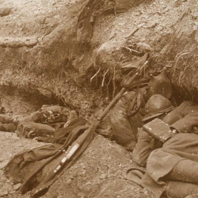 Photo Plaque Stéréo - Guerre 14/18 - Conflit - Tranchée - Vue Stéréoscopique - Poilu - Uniforme - Document actualité - 020