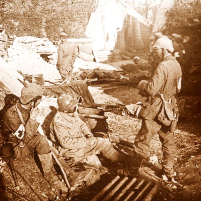 Photo Plaque Stéréo - Guerre 14/18 - Conflit - Tranchée - Vue Stéréoscopique - Poilu - Uniforme - Document actualité - 017
