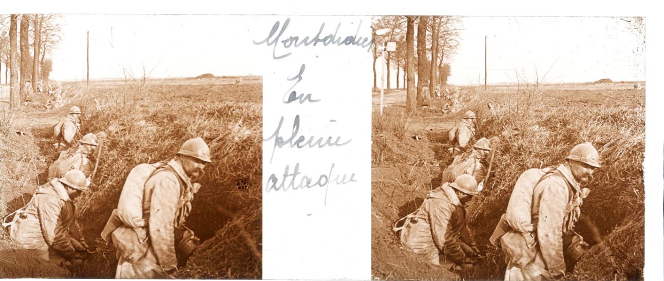 Photo Plaque Stéréo - Guerre 14/18 - Conflit - Tranchée - Vue Stéréoscopique - Poilu - Uniforme - Document actualité - 006