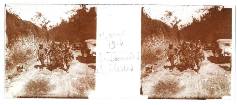 Photo Plaque Stéréo - Guerre 14/18 - Conflit - Tranchée - Vue Stéréoscopique - Poilu - Uniforme - Document actualité - 021