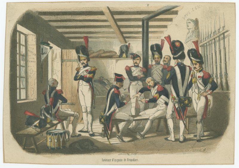 Gravure XIX - Corps de Garde des Grenadiers de la Garde - 1er Empire - Charles Vernier - Rehaussée couleur