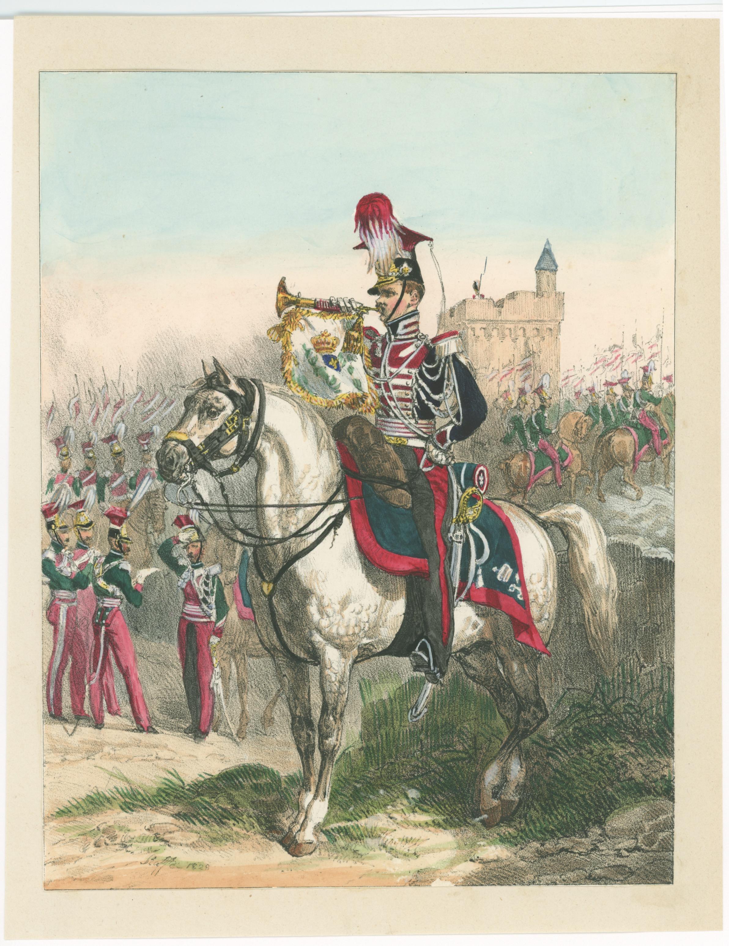Gravure XIX - Trompette des Lanciers - Seconde Restauration - Raffet 1828 - Uniforme - Lithographie rehaussée