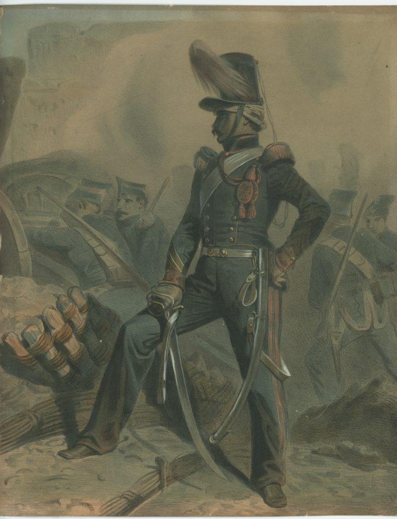 Gravure XIX -Artillerie à Cheval - Seconde Restauration - Uniforme - Lithographie rehaussée - Siége de Madrid - Expédition d'Espagne 1823