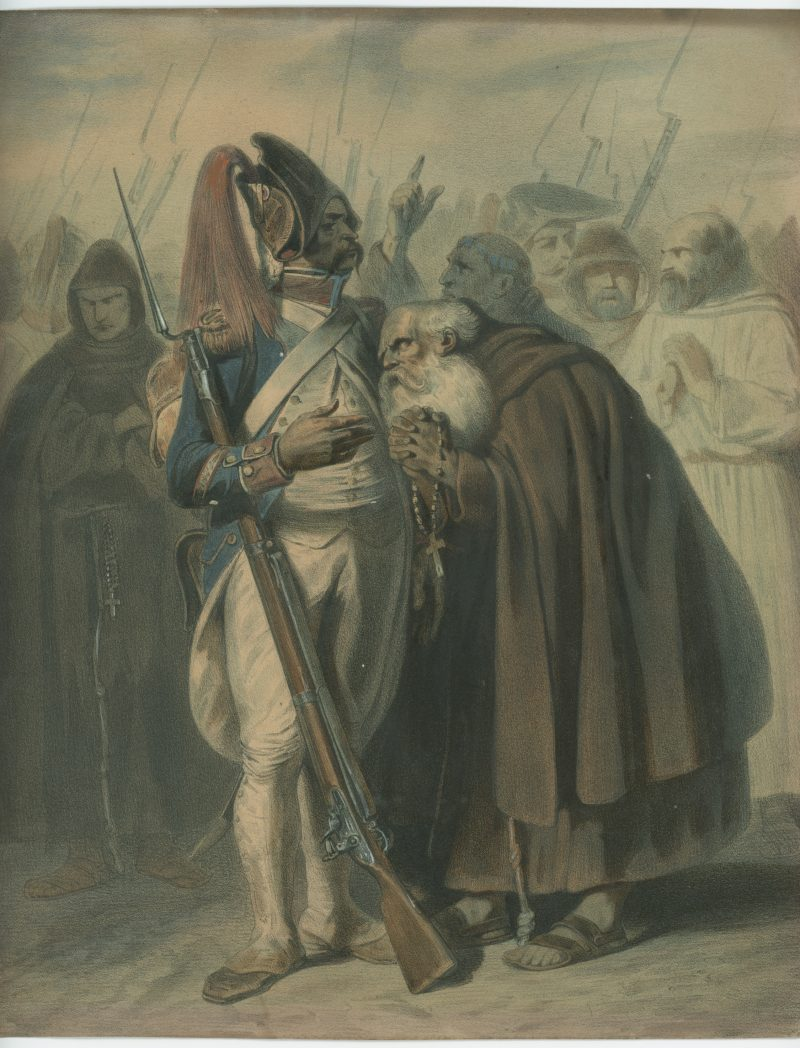 Gravure XIX - Infanterie Révolutionnaire - Révolution - Uniforme - Lithographie rehaussée - Clergé