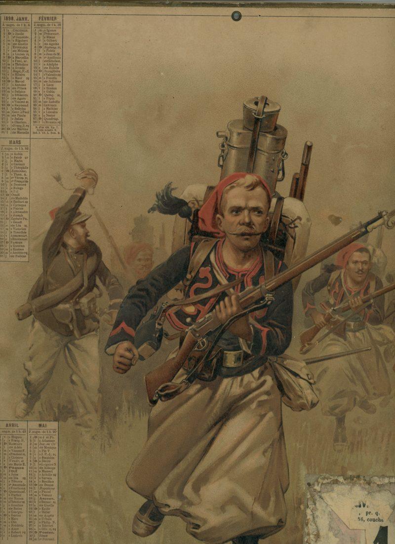 Gravure XIX - Calendrier 1898 - Morceau Zouaves à La charge - Uniforme - Manœuvre - 3ème République