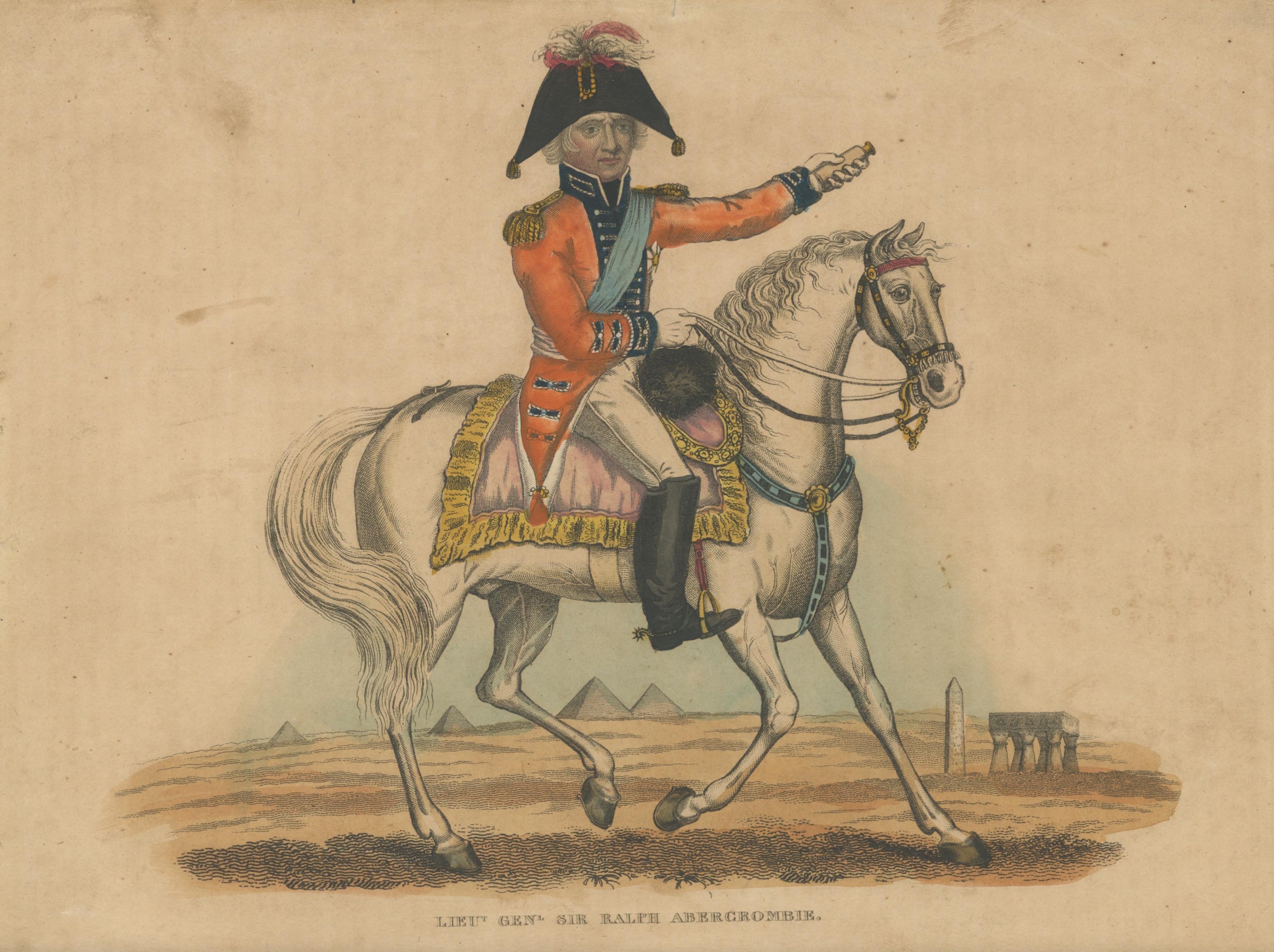 Gravure XIX - Campagne d'Egypte - Armée Anglaise - Sir Ralph Abercrombie - Pyramide