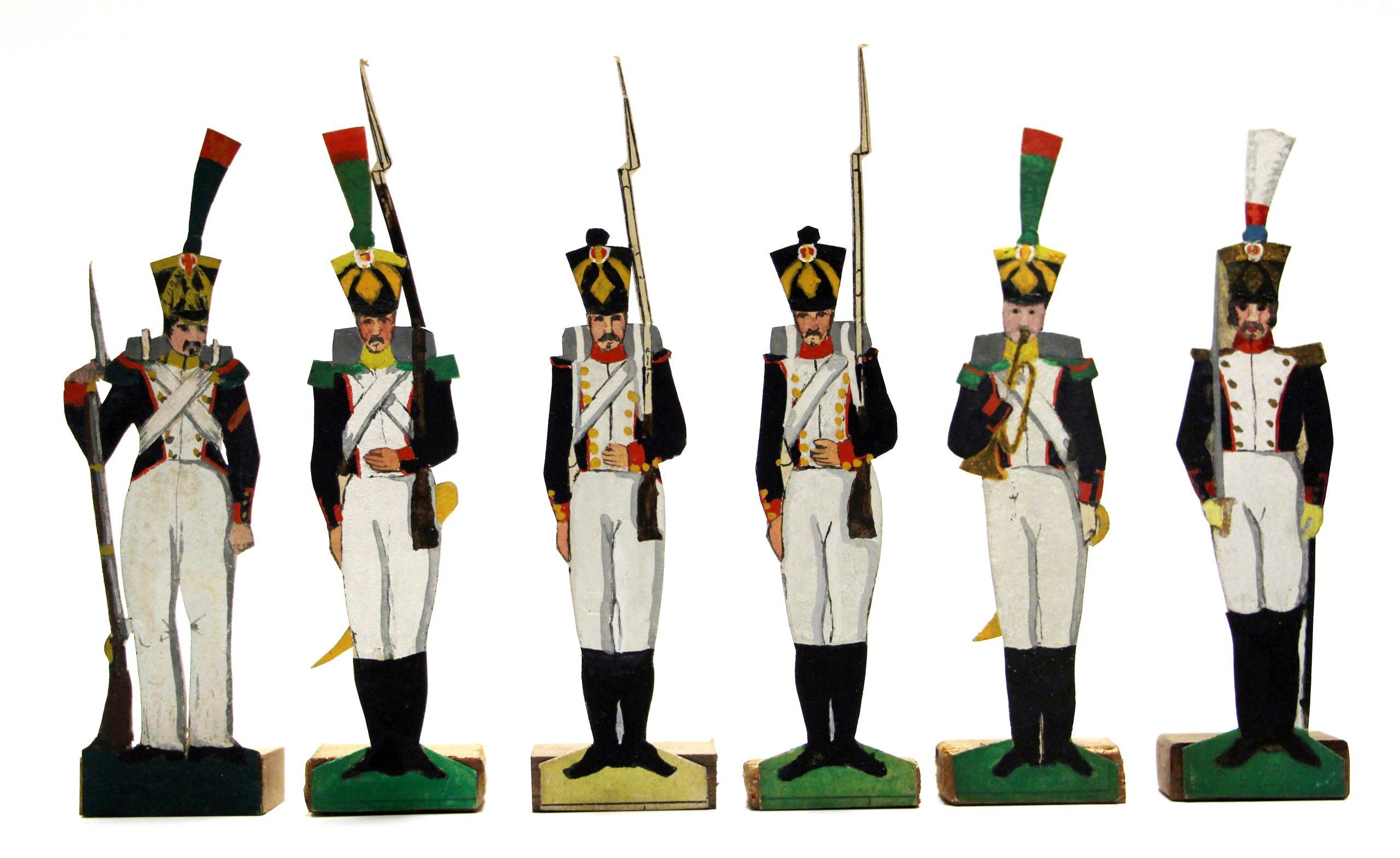6 Petits Soldats de Strasbourg - Infanterie 1er Empire - Peints à la main - Socle bois - Grenadier - Voltigeur - Napoleon 1er
