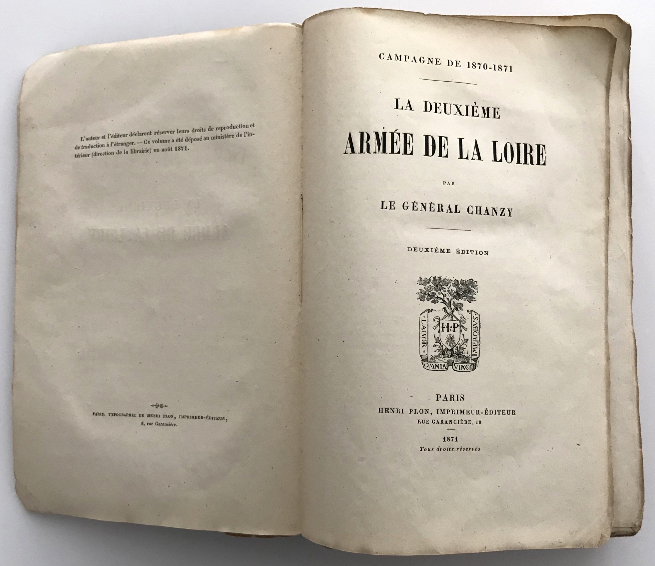 La Deuxième Armée de la Loire. Général Chanzy. Livre broché. Campagne de 1870-1871