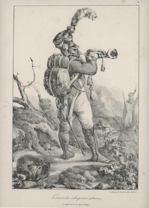 Gravure Lithographie de Charlet - Voltigeur - Infanterie de ligne 1809 - 1er Empire - Napoleon 1er - Cornet - Grande tenue
