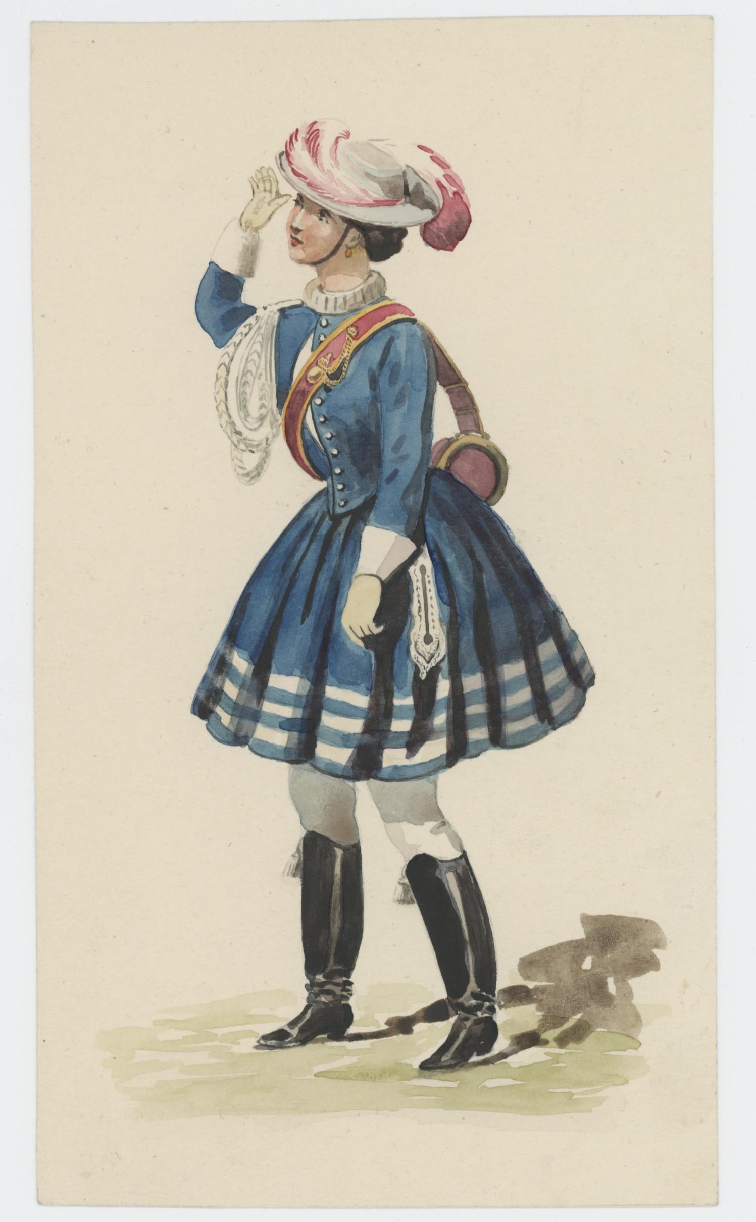 Dessin crayon rehaussé - Cantinière - Second Empire - Napoleon III - Uniforme - Aquarelle Originale - Cuirassier