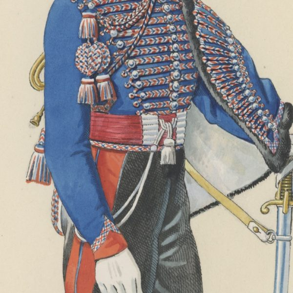 Dessin crayon rehaussé - Hussards - 2nd Restauration - Uniforme - Aquarelle Originale - 1er Régiment du Hussards - Trompette