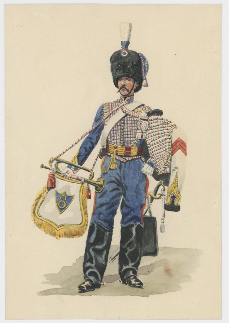Dessin crayon rehaussé - Hussards - 1845 - Monarchie de Juillet - Uniforme - Aquarelle Originale