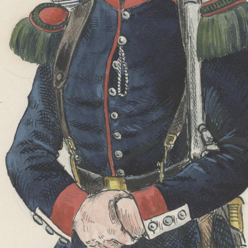 Dessin crayon rehaussé - Garde Nationale Mobile 1848 -Monarchie de Juillet - Uniforme - Aquarelle Originale - Henri Boisselier.