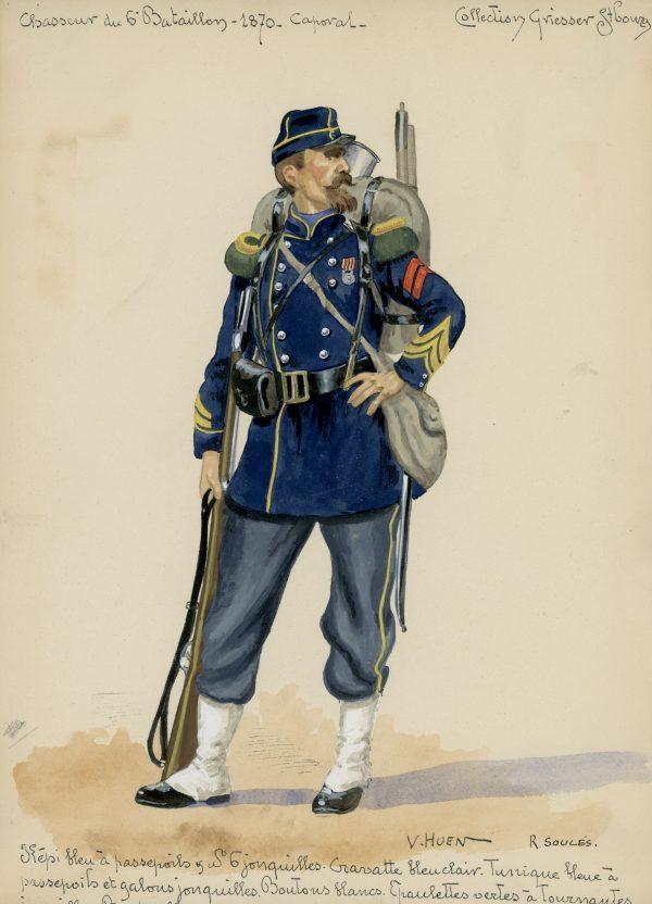 Planche Gravure - Dessin de Huen - Chasseur à Pied - Second Empire - Napoleon III - Uniforme - Aquarelle mise en couleur par R.Soulés -