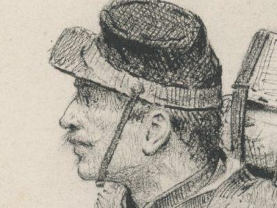 Dessin crayon rehaussé encre noire - Mobile 1870/1871 - France - Uniforme - Dessin orignal de Paul Grolleron 1884
