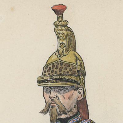 Dessin crayon rehaussé - Dragon de la Ligne - Musicien - Second Empire - Uniforme - Aquarelle Originale - ATE Goichon - Auguste Goichon