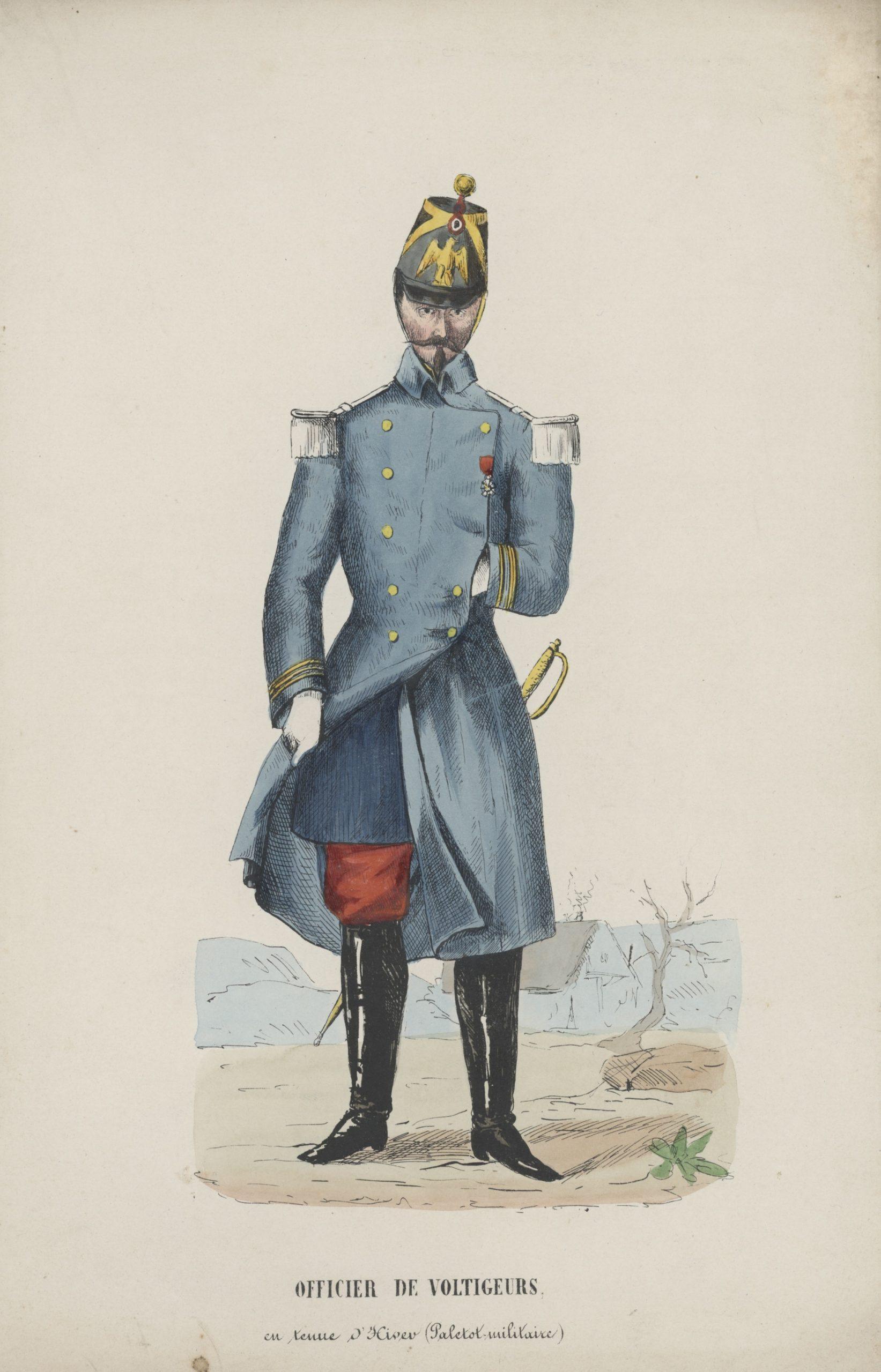 Gravure XIX - Voltigeur de la Garde Second Empire - Napoléon III - Tenue d'hiver - Paletot militaire - Officier des voltigeurs - Crimée - Italie